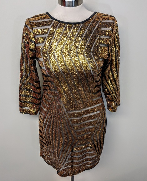 Dresses & Skirts - Sheer Sequin Party Dress